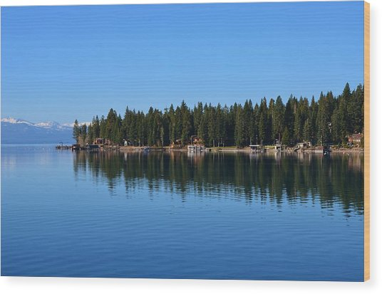 Treeline Lake Tahoe Wood Print