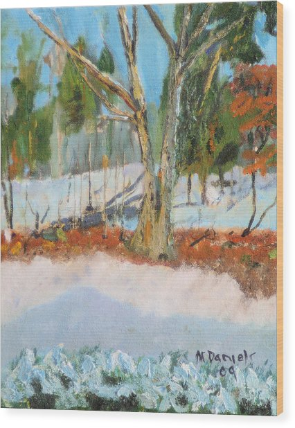Trees And Snow Plein Air Wood Print
