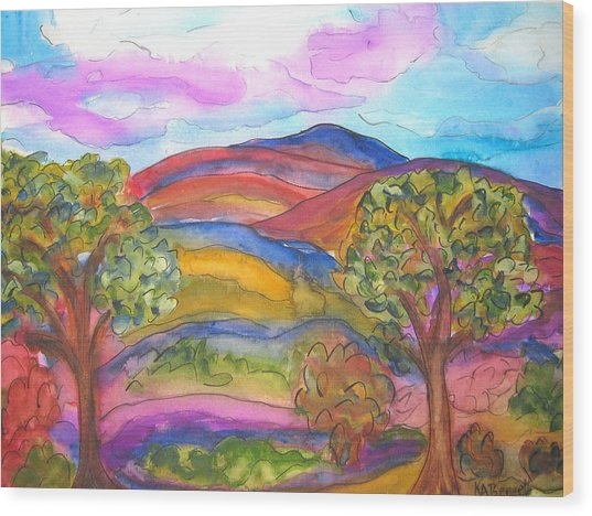 Trees And The Mountain Wood Print