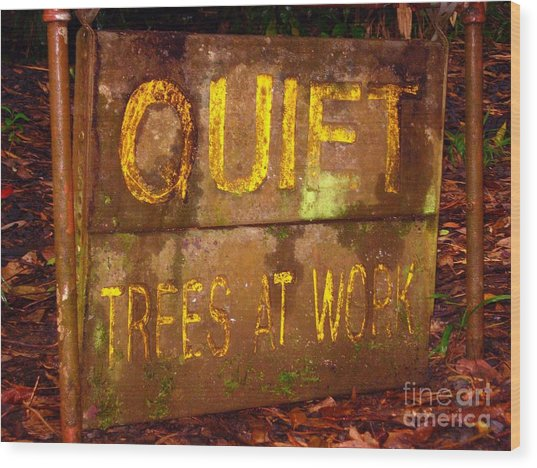Trees At Work Wood Print by Christine Stack