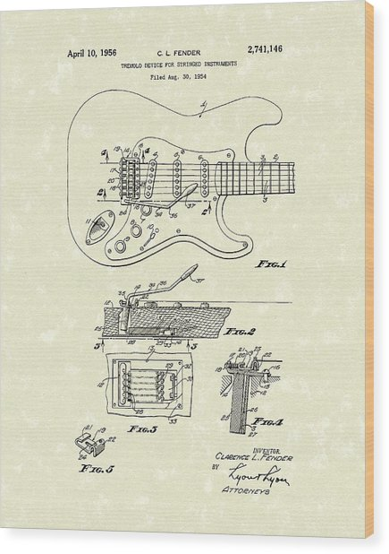 Tremolo Device 1956 Patent Art Wood Print
