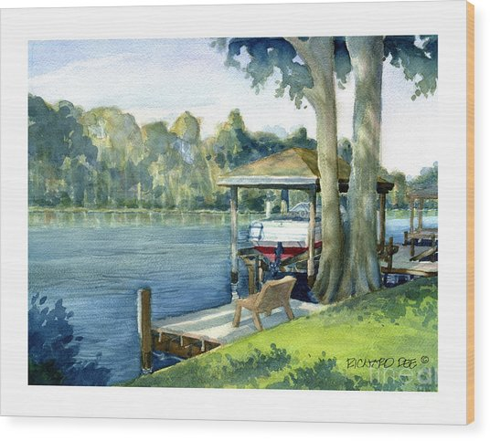 Trent River Boathouse Wood Print