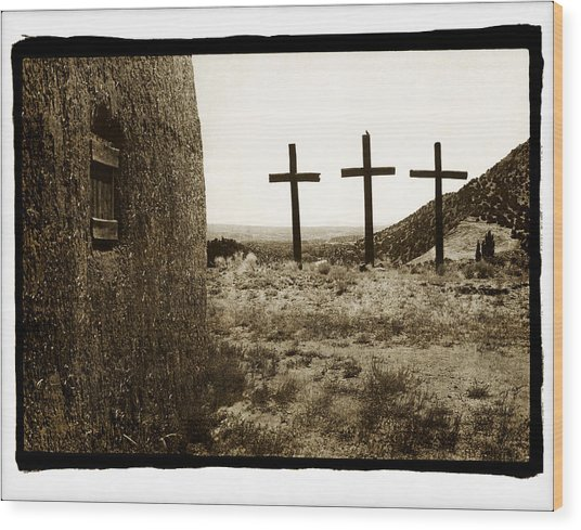 Tres Cruces New Mexico Wood Print