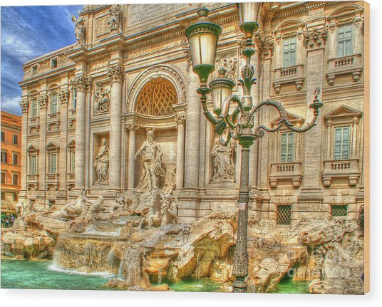 Trevi Fountain In Rome Wood Print