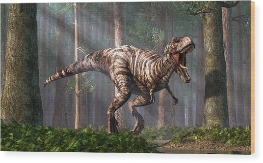 Trex In The Forest Wood Print