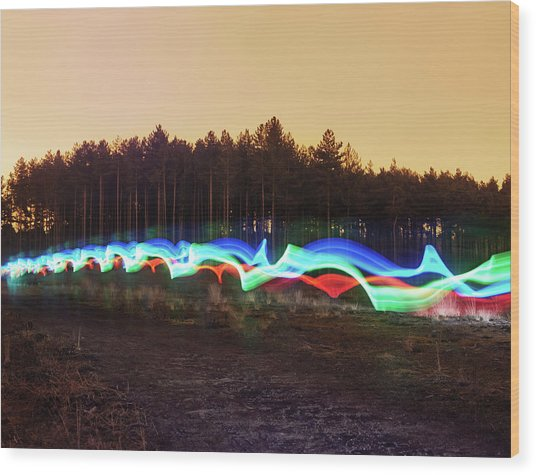 Tri-colour Light Trail In Heath Wood Print by Tim Robberts