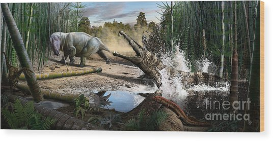 Triassic Mural 1 Wood Print
