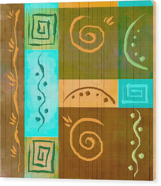 Tribal Abstract Wood Print by Brenda Bryant