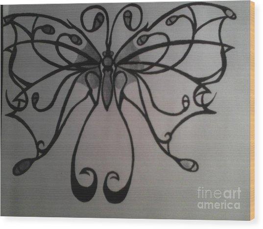 Tribal Butterflly Wood Print by K Kagutsuchi Designs