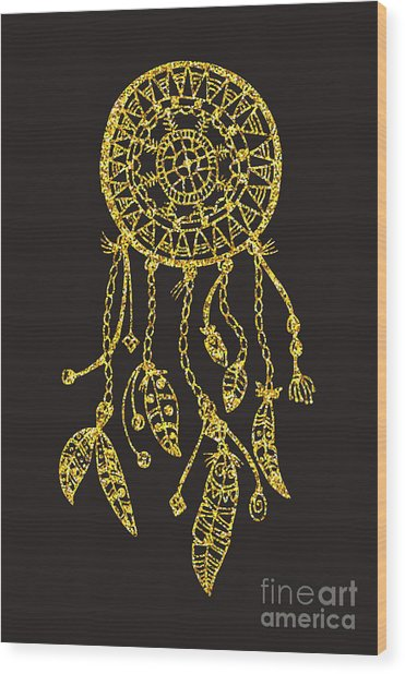 Tribal Vector Dream Catcher With Wood Print