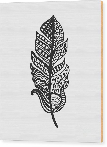 Tribal Vector Feather. Hand Drawn Wood Print by Qilli