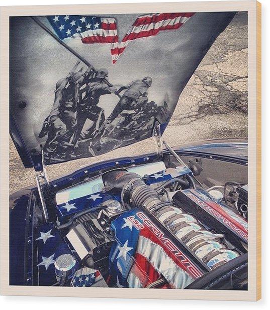 Tribute #corvette To All Veterans #usa Wood Print