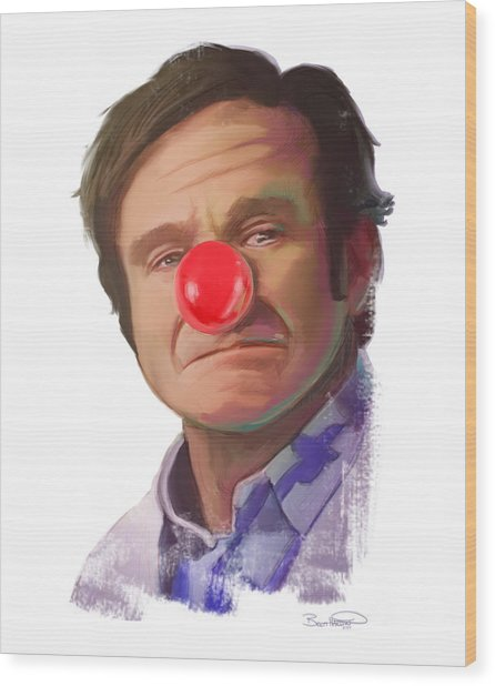 Tribute To Robin Williams Wood Print