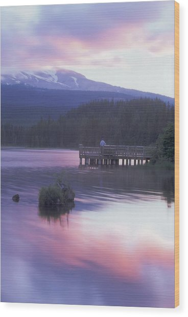 Trillium Lake Sunrise Wood Print