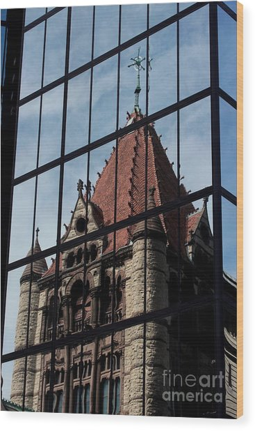 Trinity Chruch Reflected Wood Print