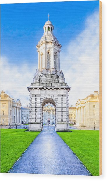 Wood Print featuring the photograph Trinity College Campanille - Dublin Ireland by Mark E Tisdale