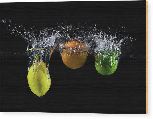 Triple Citrus Splash Wood Print