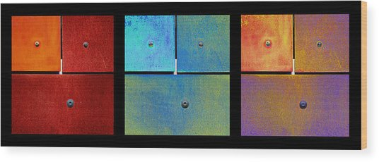 Triptych Red Cyan Purple - Colorful Rust Wood Print