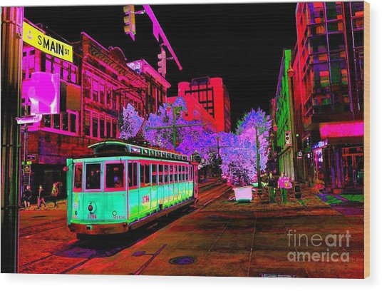 Trolley Night Digital  Wood Print
