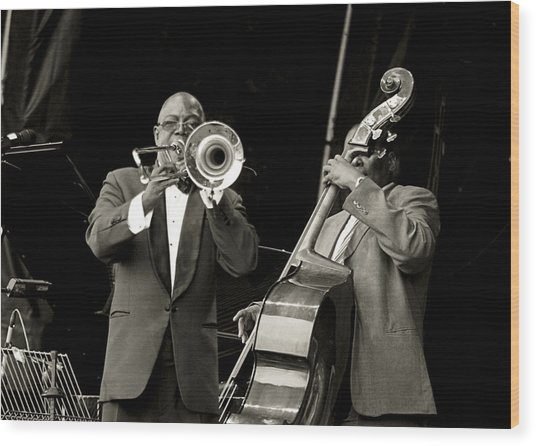 Trombone And Bass Wood Print by Tony Reddington