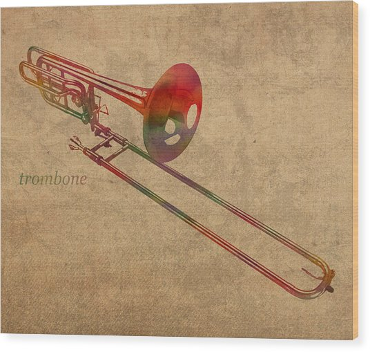 Trombone Brass Instrument Watercolor Portrait On Worn Canvas Wood Print