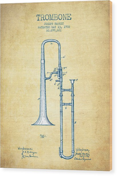 Trombone Patent From 1902 - Vintage Paper Wood Print