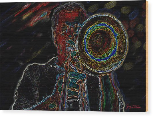 Trombone Player Wood Print