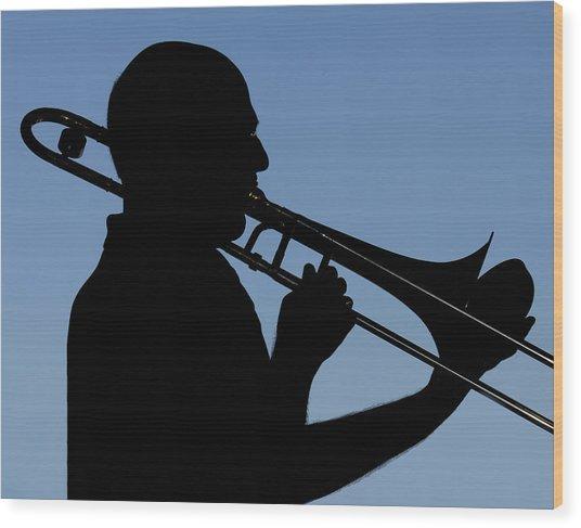 Trombone Player Wood Print