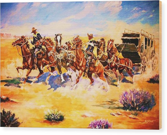 Troopers Stopping A Runaway Coach Wood Print