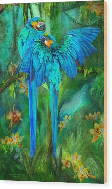 Wood Print featuring the mixed media Tropic Spirits - Gold And Blue Macaws by Carol Cavalaris