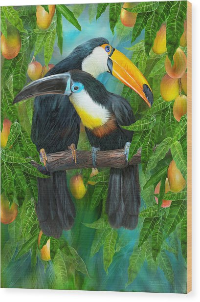 Wood Print featuring the mixed media Tropic Spirits - Toucans by Carol Cavalaris