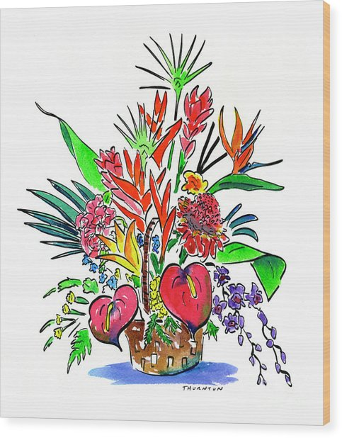 Tropical Basket Wood Print