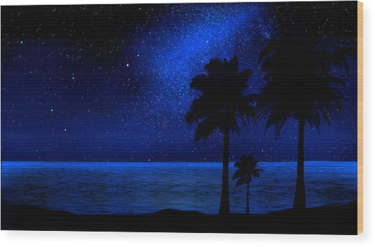 Tropical Beach Wall Mural Wood Print