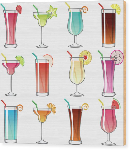 Tropical Cocktail Glass Icons Set Wood Print by Bortonia