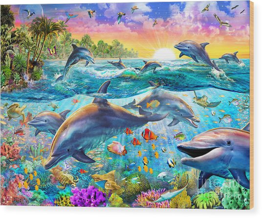 Tropical Dolphins Wood Print
