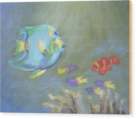 Tropical Fish Wood Print by Patricia Kimsey Bollinger