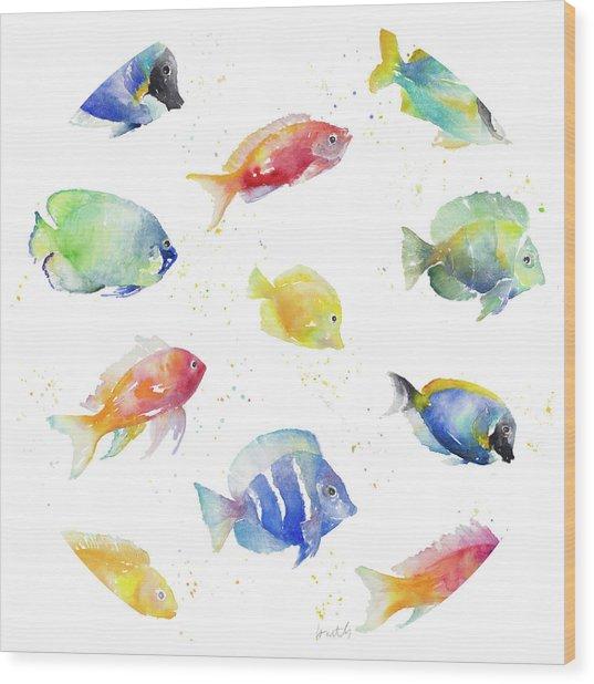 Tropical Fish Round Wood Print