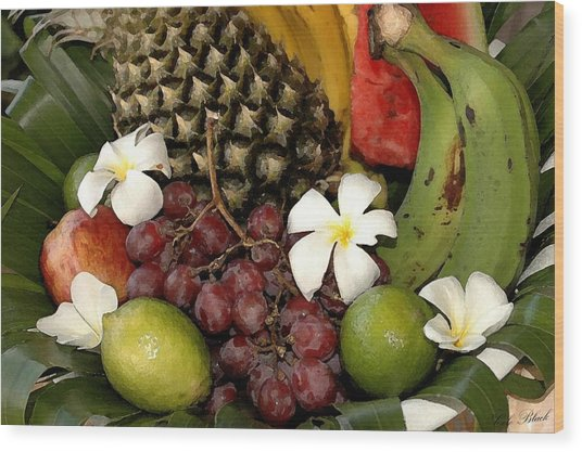 Tropical Fruit Basket Wood Print by Cole Black