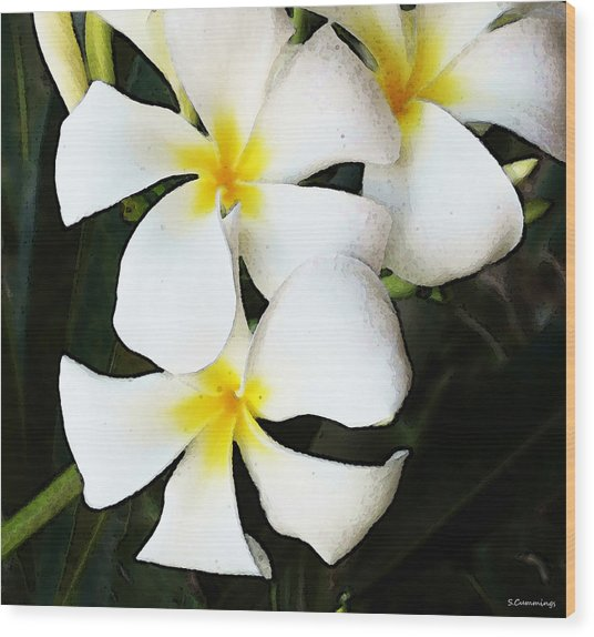 Tropical Life - Flower Painting Wood Print