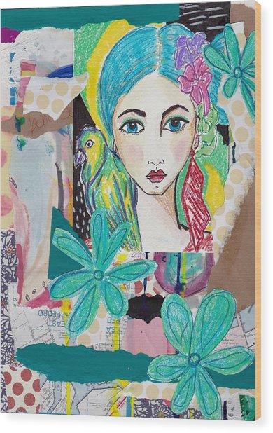 Tropical Parrot Girl Wood Print