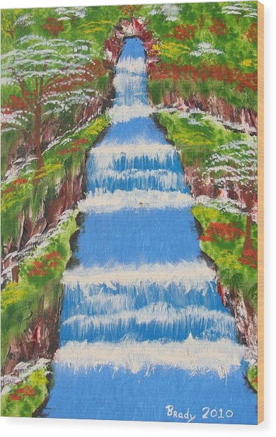 Tropical Rain Forest Water Fall Wood Print