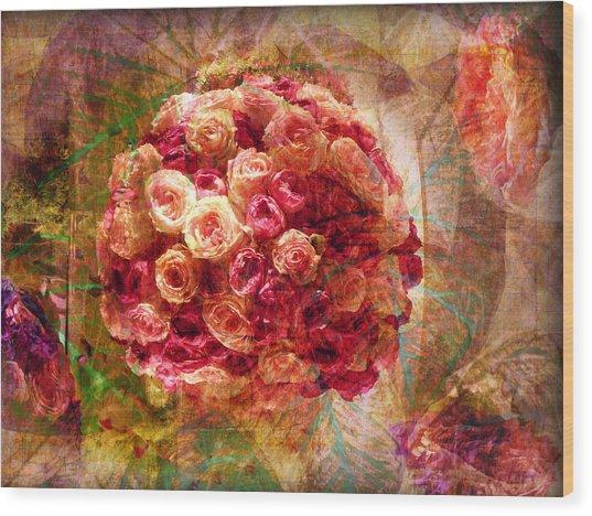 English Rose Bouquet Wood Print