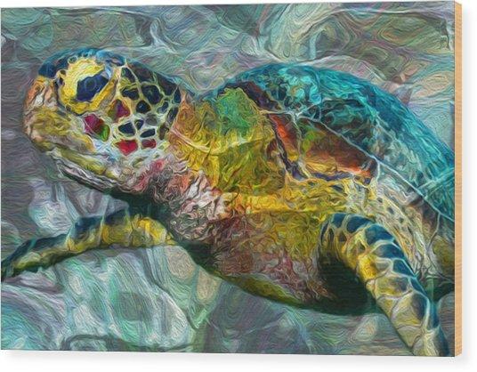 Tropical Sea Turtle Wood Print
