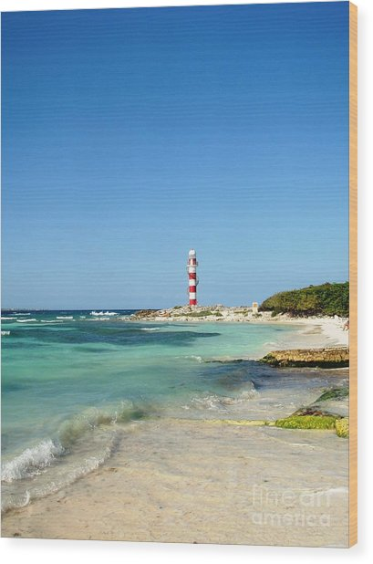 Tropical Seascape With Lighthouse Wood Print