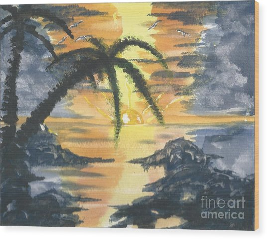 Tropical Sun Wood Print