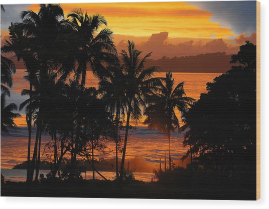 Tropical Sunset In Blues Wood Print