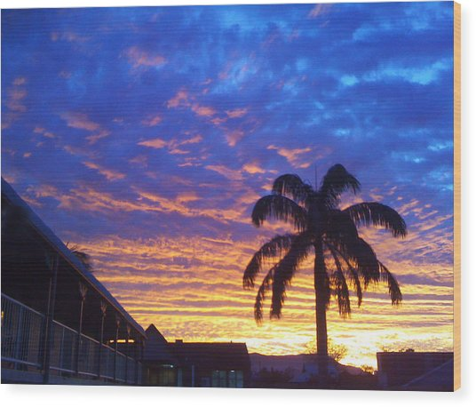 Tropical Sunset View Wood Print