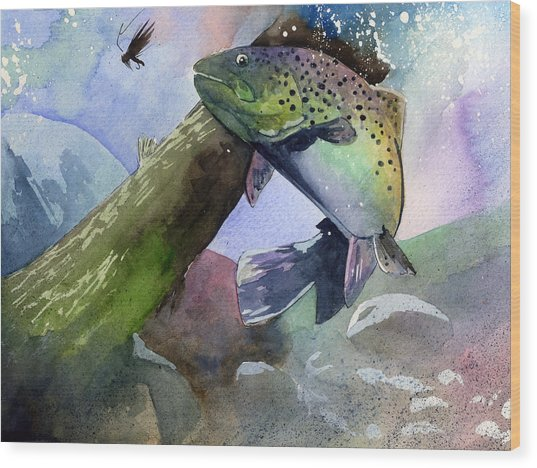 Trout And Fly Wood Print