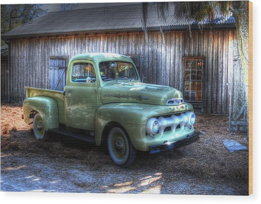 Truck By The Barn Wood Print