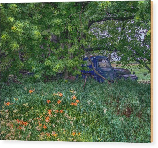 Truck In The Forest Wood Print